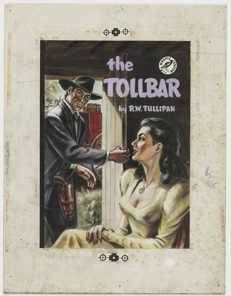 """'The Tollbar', ca.1946, cover illustration for crime story """"pulp"""" published by Frank C. Johnson, Sydney."""