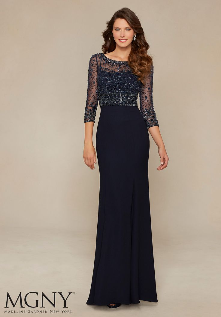 Beaded Net, Button Back Jacket with Crepe Dress Evening Gown/Mother of the Bride…
