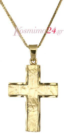 Χρυσός σταυρός για άντρα ή για την βάπτιση με σφυρήλατο σχέδιο έως 300€ μόνο!!!!