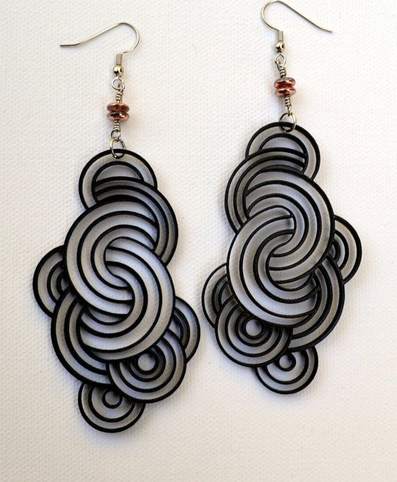 Wood Earrings Laser Cut Fashion Circles Black Birch by jleslietx, $22.00