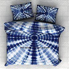 Queen Bedding Set Tie dye Bedspread Indian Indigo Blue Bed Cover Bed Sheet Boho