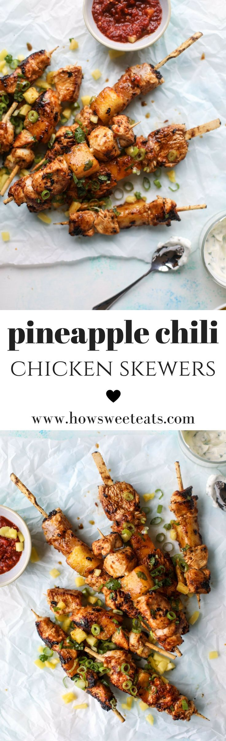 Pineapple Chili Chicken Skewers by @howsweeteats I howsweeteats.com