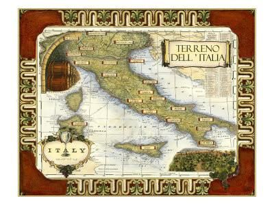 Wine Map of Italy Art Print at Art.com