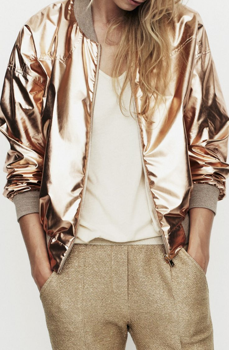 Shiny gold bomber jacket paired with metallic tailored trousers make for some serious party style inspiration!
