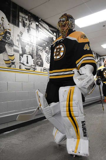 BOSTON, MA - MARCH 8: Tuukka Rask #40 of the Boston Bruins walks to the locker room after warm ups before the game against the Detroit Red Wings at the TD Garden on March 8, 2017 in Boston, Massachusetts. (Photo by Brian Babineau/NHLI via Getty Images)