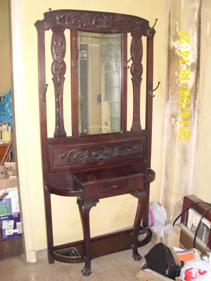 antiguo recibidor perchero de estilo c/espejo
