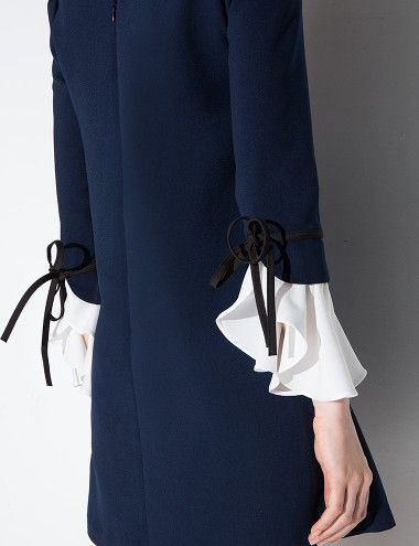 Lace Bell Sleeve Navy Dress #fashion #womenclothing @pixiemarket