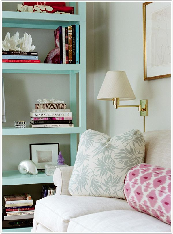 from Camille Styles: Decor, Bookshelves, Mint Green, Idea, Living Rooms, Books Shelves, Interiors, Colors, Bookca