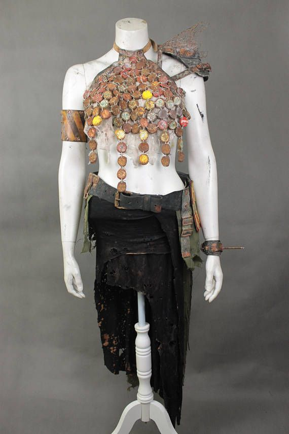 Wasteland Weekend Full Costume - Post Apocalyptic Clothing - Burning Man Clothing Women - Professional Waterworld Costume - Movie Props  Designer and maker of the project is Viola Sychowska founder of Wasted Couture.  FIVE piece set comes with all seen he https://madburner.com