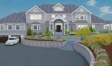 Front elevation of proposed front with second story addition, masonry and landscaping.