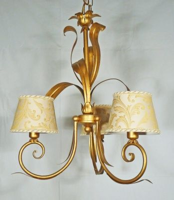 CHANDELIER WITH 5 LIGHT IN METAL BEATEN COLORO GOLD AND LAMPSHADE art.580