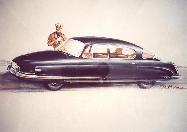 Tatra 603 Gouache Concept Illustration