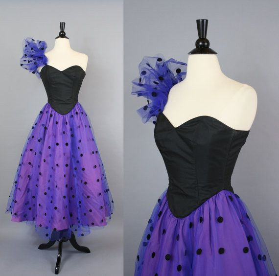 Purple Polka Dot Prom Dress, $88 | 35 Vintage Prom Dresses Under $100