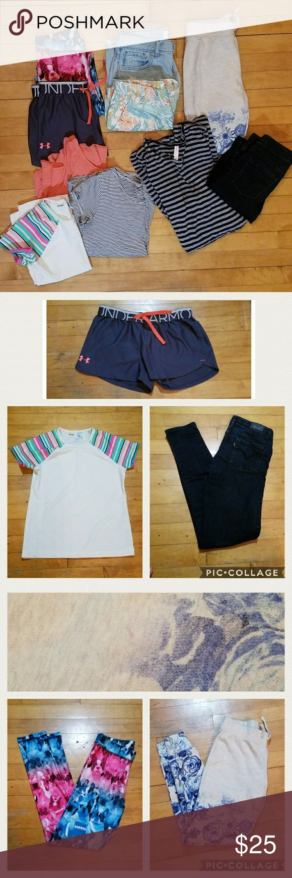 Girls Size 10-12-14 10 Item Bundle Lot Girls Size 10-12-14 Bundle Old Navy Rash Guard Swim Top, Size 10/12. Girls Levi's Skinny Jeans, size 12. Old Navy Striped flowy tshirt, size 14. Old Navy Flowy Tank top, size 14. Under Armour shorts, size L. Justice dog leggings, size 12. Xhilaration bell sleeve dress, size 10/12. Old Navy floral shorts,  size 14. Old Navy denim boyfriend shorts, size 12. Gap Kids floral sweats, size 12. All in Excellent used condition, only flaws are 2 tiny spots on…