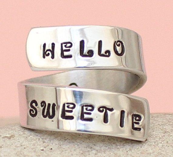 Bonjour ma chérie - Doctor Who - Tardis - Wrap Ring - personnalisé Ring - argent