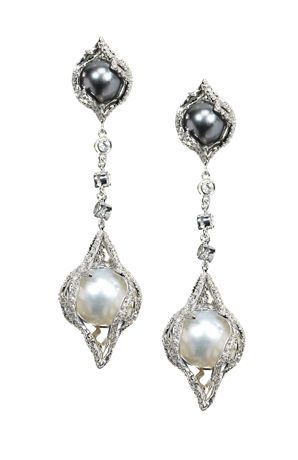 Vanna K 18k white gold diamond encrusted earrings featuring black & white South Sea pearls #TheFacet