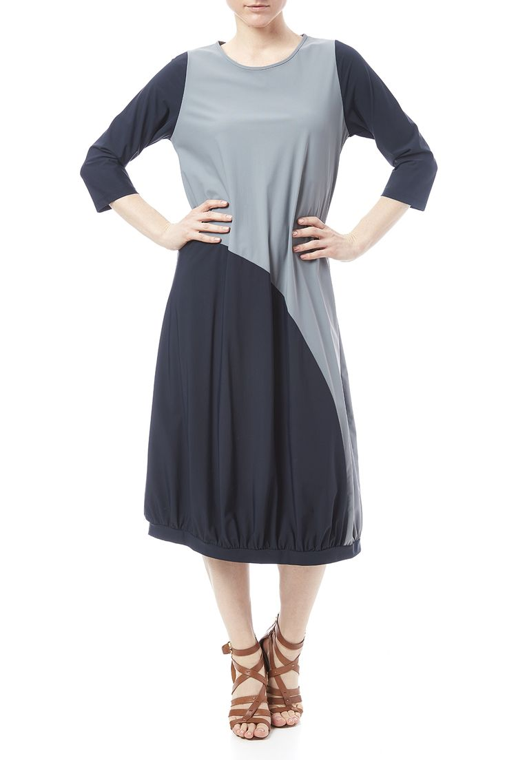 Color block jersey dress with 3/4 sleeves and a banded bubble hem.   Bubble-Hem Jersey Dress by Comfy USA. Clothing - Dresses - Midi Clothing - Dresses - Casual Virginia