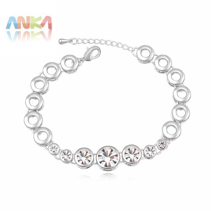 2017 Promotion Trendy Women round Jewelry Pulseiras Bracelets Bangles rhodium Plated Crystal Jewelry Bracelets #107803