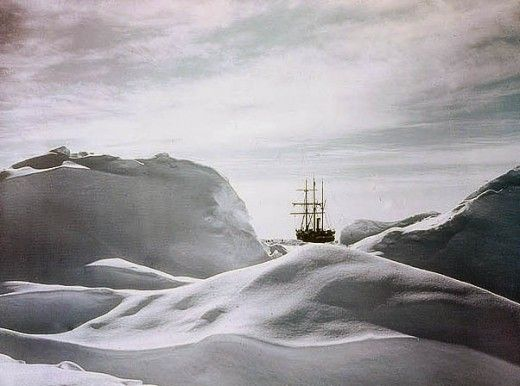 These are Frank Hurley's famous early colour photographs of Sir Ernest Shackleton's ill-fated 'Endurance' voyage, as part of the British Imperial Trans-Antarctic Expedition, 1914-1917. Hurley was the official photographer on the expedition.    Early in 1915, their ship 'Endurance' became inexorably trapped in the Antarctic ice. Hurley managed to salvage the photographic plates by diving into mushy ice-water inside the sinking ship in October 1915.  - State Library of New South Wales