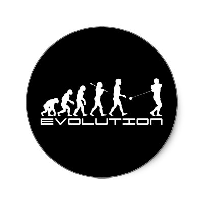 Hammer Throw Evolution ~ Track and Field round stickers