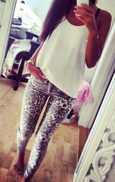 Brown leopard print leggings ladies size 8
