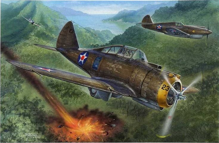 Seversky P-35 and a P-49 over the Philippines | World War ...