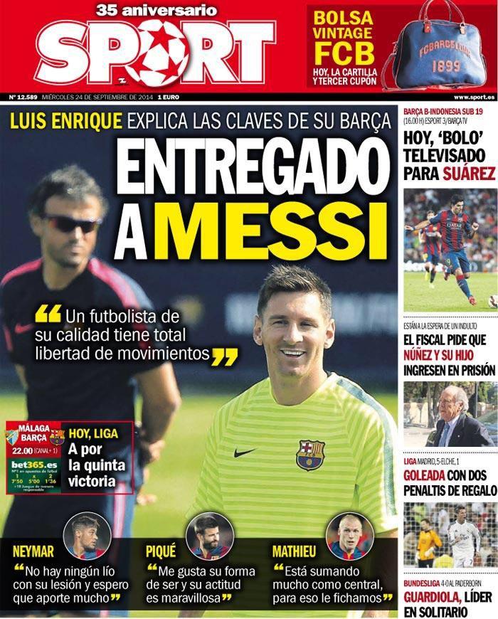 Portada Sport 24/09/14 #FCBarcelona #Barça #Barcelona #FCB #fcblive #SomUnEquip #ViscaBarça #SomosBarça #Culè #igersFCB #CanBarça #Catalunya