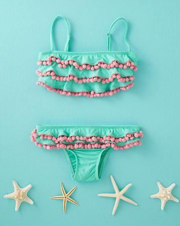 Pom-Pom Bandeau Bikini by PilyQ - Baby Girls& Girls