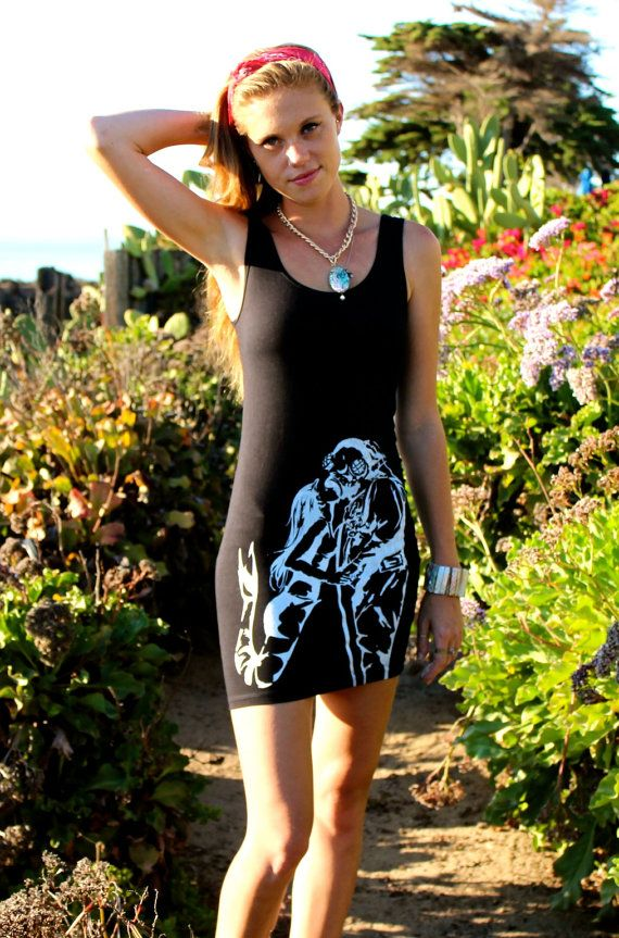 Mermaid & Deep Sea Diver // Nautical Girl's / Ladies Black Bodycon Dress // Fall Trends and Fashion // Black and White Stretchy Dress by Clarafornia via Etsy, $50