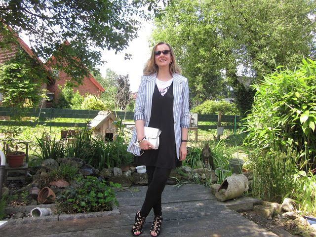 Fashion translated: Outfit: A layering look for summer grey stripes blazer dress over t-shirt