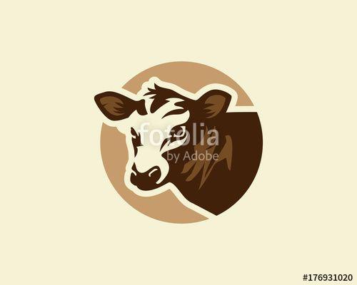 Vector: Cow logo, silhouette of a cow head, cow vector