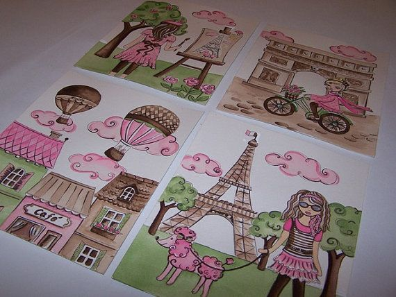 Paris wall decor toile parisian art fashion girls pink brown  kids art prints 4 8x10 via Etsy