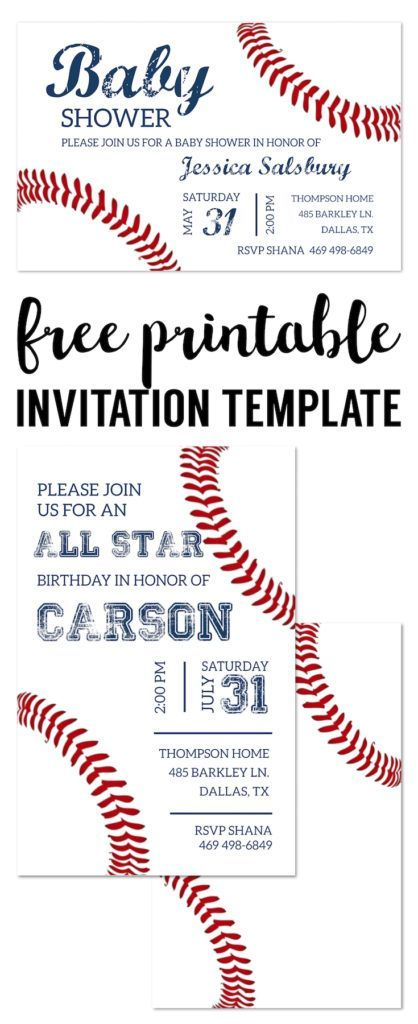 Baseball Party Invitations Free Printable. Baseball invitation template for a DIY baseball birthday party, baby shower, or baseball team party. #baseballtreats
