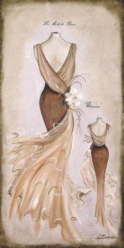 Vestido Beige Print van Luisa Romero bij AllPosters.nl