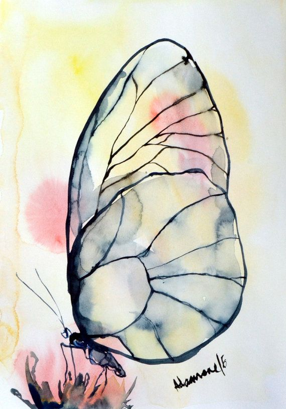 Butterfly watercolor painting, A4, 8x12 original artwork. Nature  water color wall art for living room. Unique gift. Watercolour picture.  Beautiful!!!