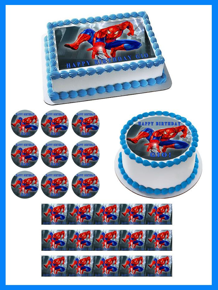 SPIDERMAN 1 Edible Birthday Cake Topper OR Cupcake Topper, Decor #BirthdayChild