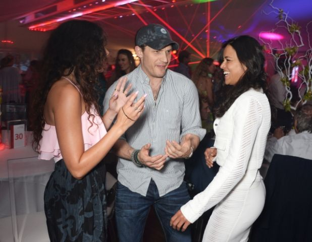 Tom Hardy with Michelle Rodriguez and Eliza Doolittle.