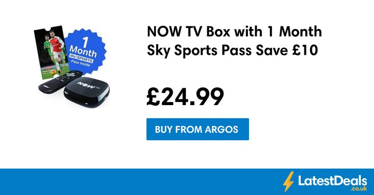 NOW TV Box with 1 Month Sky Sports Pass Save £10, £24.99 at Argos