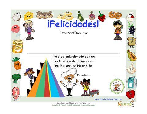 Premios divertidos para niños. Certificados de nutrición para imprimir para premiar a los niños por los hábitos saludables.