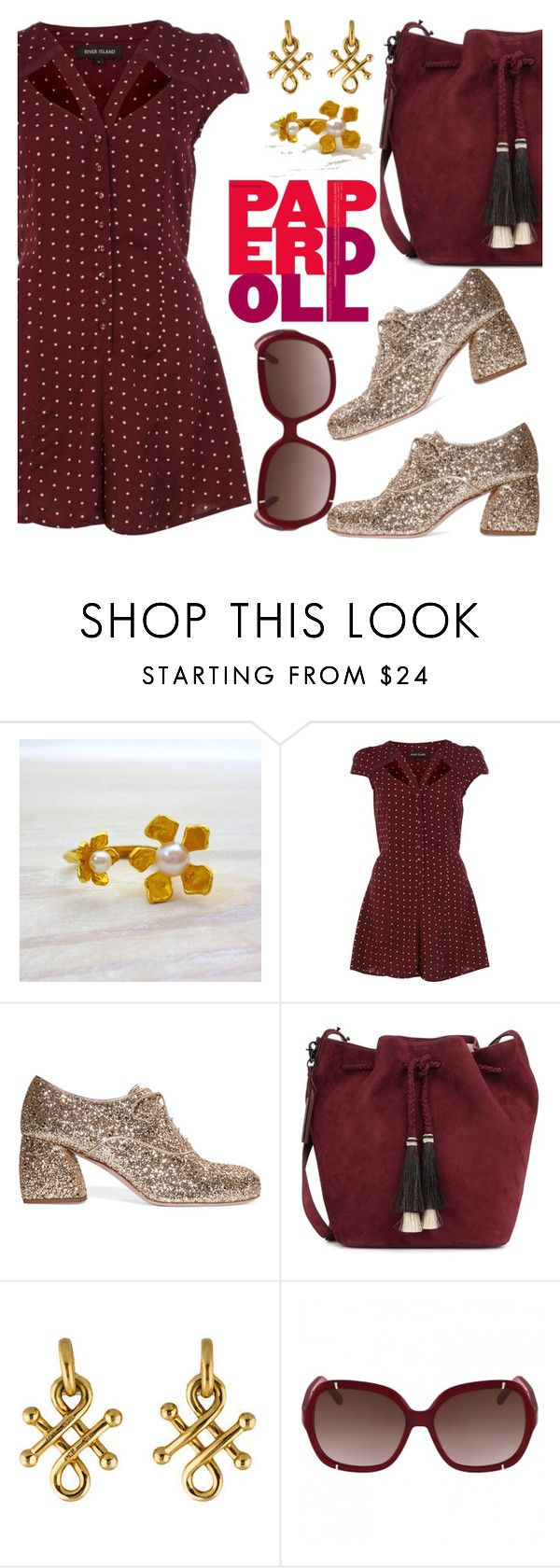 """""""Glitter on my toes"""" by pensivepeacock ❤ liked on Polyvore featuring River Island, Miu Miu and Loeffler Randall"""