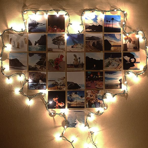 Create this gorgeous heart frame using only Christmas lights