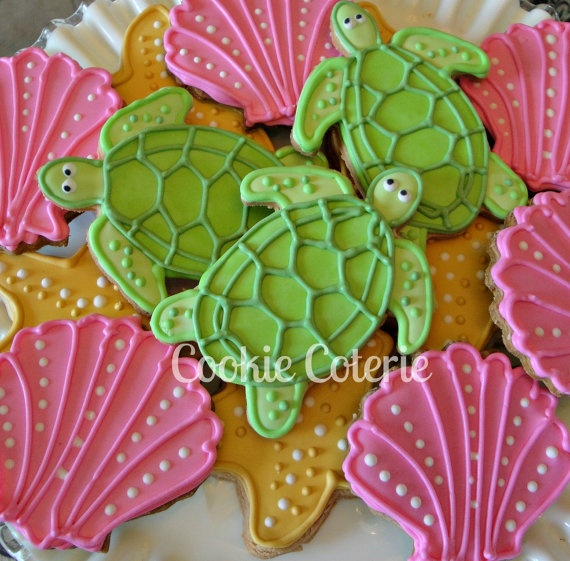 Sea Creature Cookies Sea Turtle Starfish Sea Shell Crab Decorated Sugar Cookies Birthday Cookie Favors. $18.00, via Etsy.