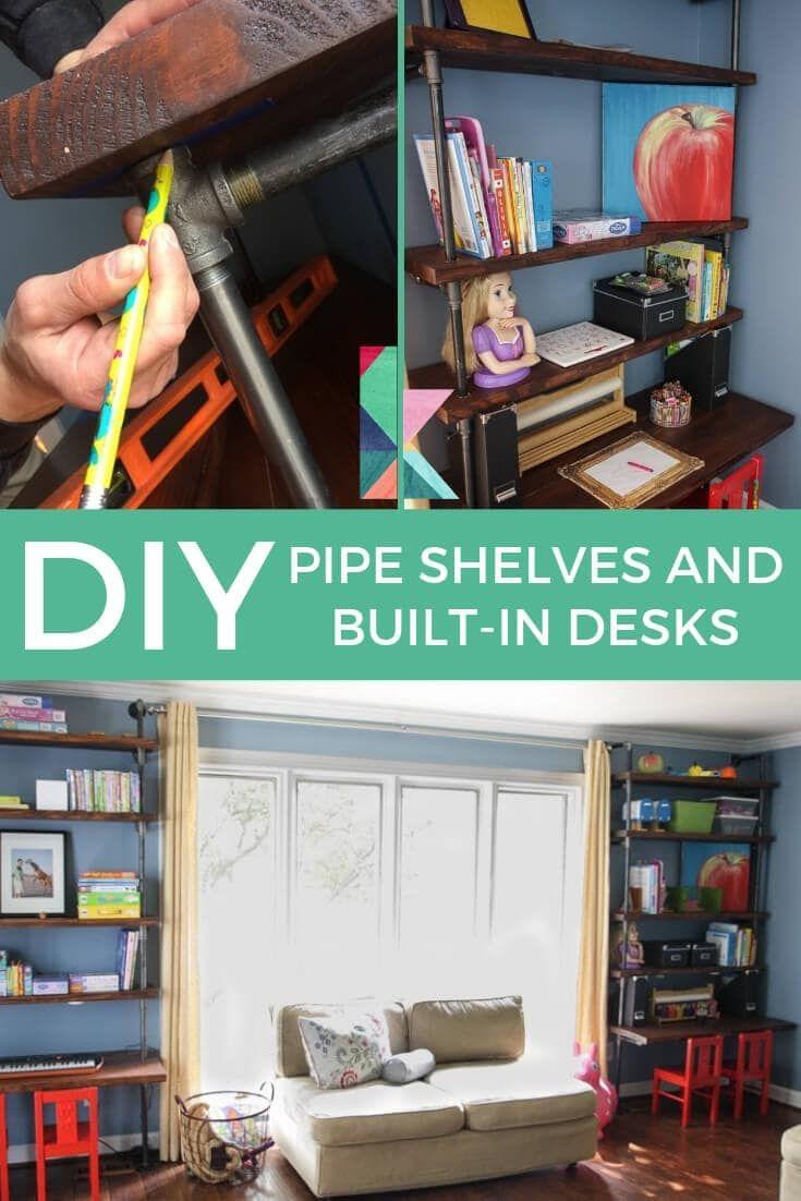 DIY Pipe Shelves and Built-In Desks