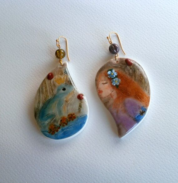 Frog prince earrings fairytale jewelry polymer clay and epoxy resin by Lijoux