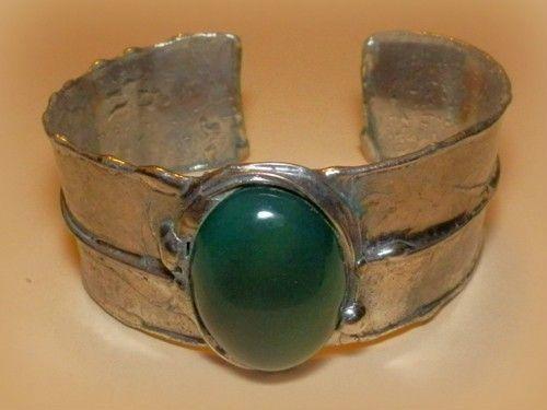 http://megasilver.pl/Bransoleta-p370 #Bracelet #metalwork #handmade #green #agate #stone #jewelry #jewellery
