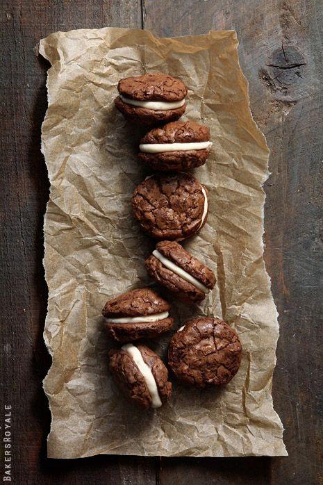 brownie cookies + salted caramel filling