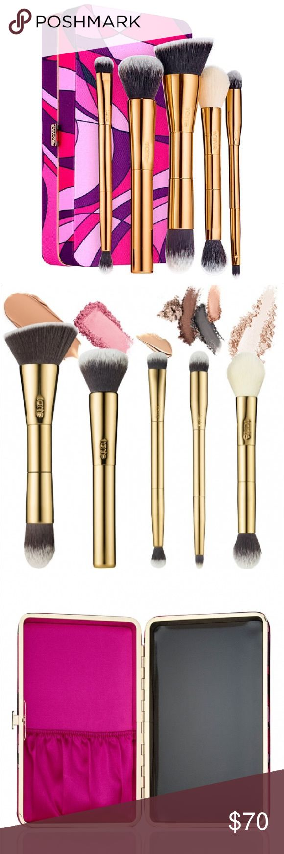 tarte tarteist toolbox 5-pc brush set & palette tarte tarteist toolbox 5-pc brush set & palette NWT *SOLD OUT* Limited Edition - Includes: double-ended foundation brush, multi-use complexion brush, double-ended concealer brush, double-ended cheek & highlighter brush, double-ended eyeshadow brush, convertible brush case and customizable magnetic palette (z-palette). Can also be a purse/clutch. Sephora Makeup Brushes & Tools