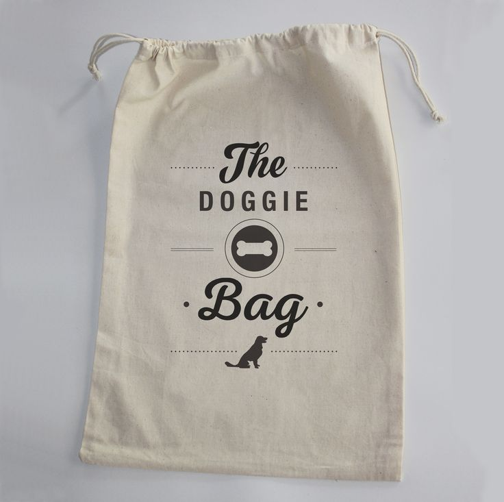 100% Cotton Doggie Bag. So you always need a bag for your doggie when going out. For his leach, toys, treats or even your keys and phone when taking your best friend to the park.