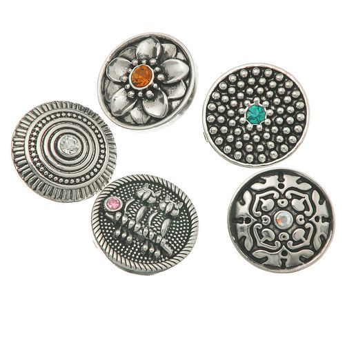 Soleebee Alloy Flower Carving Snap Button Cuff Bracelet Women's Fashion Bracelet (Silver) 3sM5Qpssp
