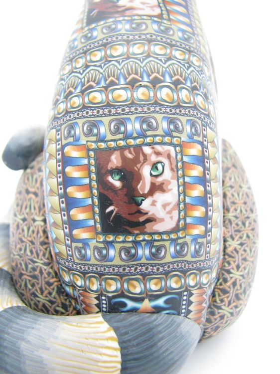 Fimo Creations Полимерная глина Папа Cat Джон Андерсон | Лема в Kokopelli Галерея Моав Юта